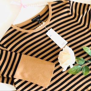 Eileen Fisher Black Gold Stripe Silk Sweater M NWT